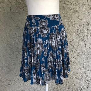 Anne Taylor Loft Turquoise Floral Pleated Skirt